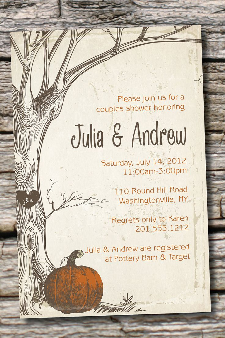 VINTAGE TREE Pumpkin Initials Couples Shower by PaperHeartCompany