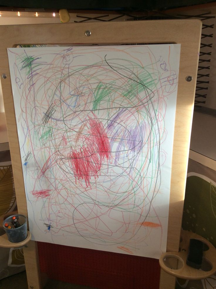 Collaborative art with crayons, standing easel and a poster