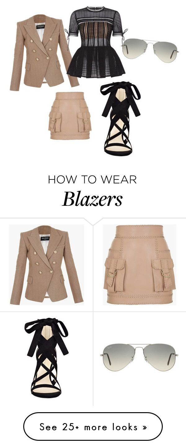 """Untitled #5"" by jae-sims on Polyvore featuring Balmain, Nine West and Ray-Ban"