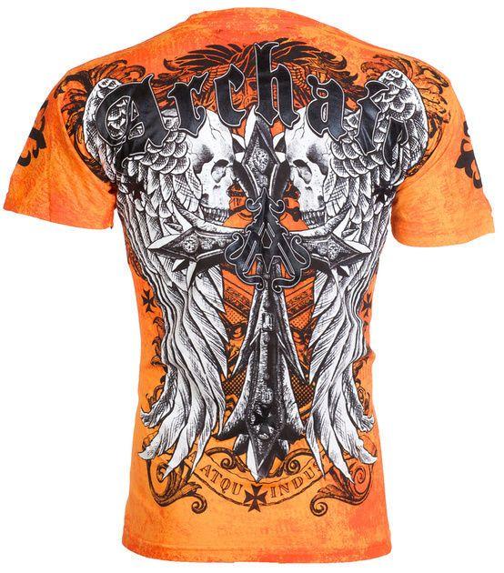 Archaic AFFLICTION Men T-Shirt LUSTROUS Skulls Wing Tattoo Biker UFC M-3XL $40 c #Affliction #GraphicTee