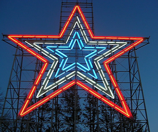 Roanoke, Virginia; if there's a major world event like the Virginia Tech massacre, the star will shine all red instead of red, white and blue.