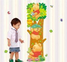 Winnie the Pooh para medição de altura DIY adesivos de parede do berçário crianças quarto Home Decor Mural decalque LM2001(China (Mainland))