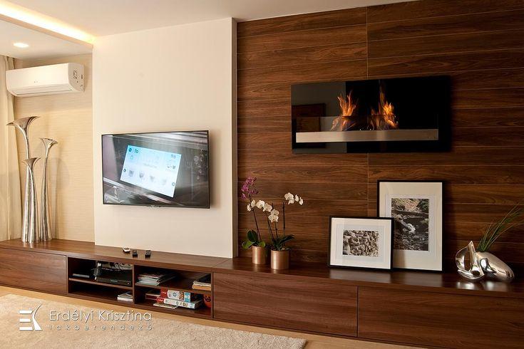 Nappali ötletek - Modern nappali - dió, fehér, bézs - Erdélyi Krisztina belsőépítész, lakberendező -  belsőépítészeti és lakberendezői munkák