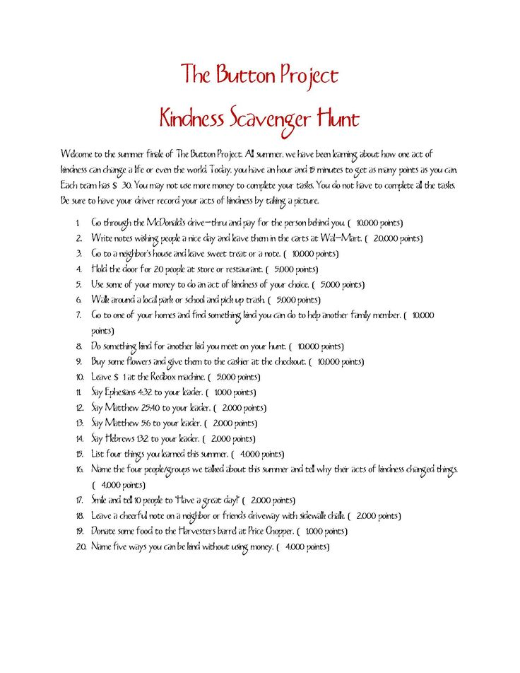 Lessons from a Kindness Scavenger Hunt