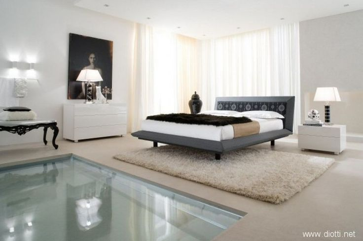 Bedroom Sweet Spacious Bedroom Suites With Acca Cover Diotti White Shag Rug Pool White Bedding Set Black Bed Runner White Chest Of Drawer Table L