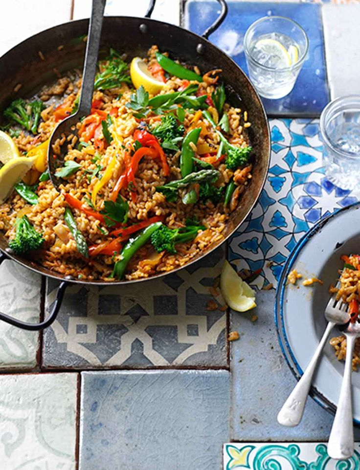 Veggie paella. This vegetarian version of a classic Spanish recipe takes just 30 minutes to cook!