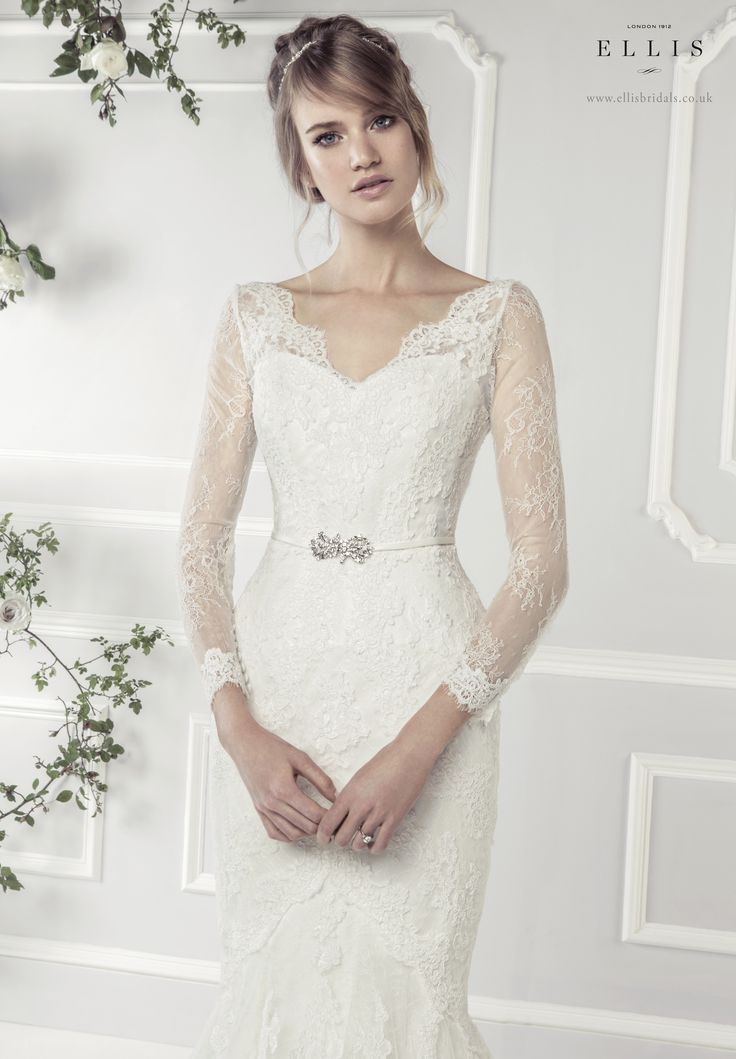 #Ellis2015 Style 11412  'Corded Lace Fluted Dress with Fine Lace Sleeves and Vintage Clasp Belt'