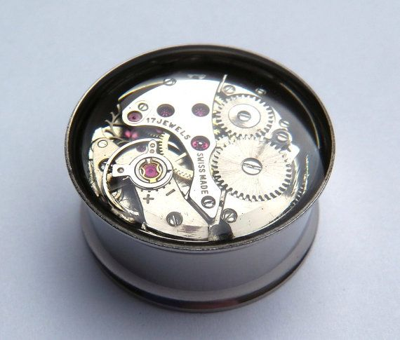 Clockwork Steampunk Vintage Watch Movement Ear Plugs by Jamlincrow, £16.00