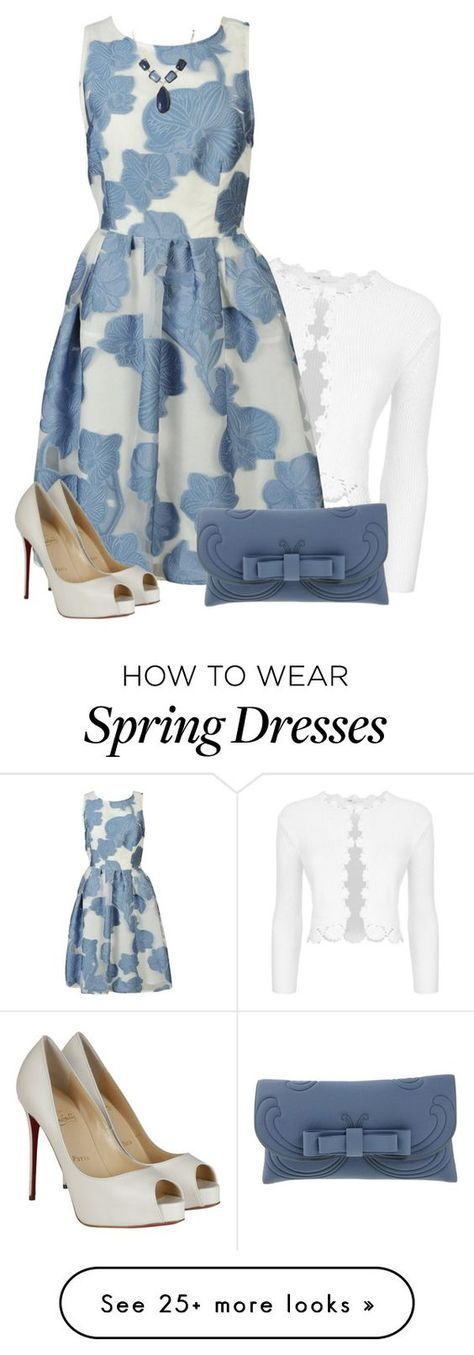 """Parosh Dress"" by daiscat on Polyvore featuring Maje, P.A.R.O.S.H., Christian Louboutin and La Fille Des Fleurs"