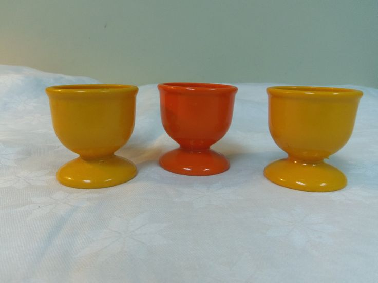 "Ensa Egg Cups West Germany (3) Hard Plastic 1970s Orange and Yellow 2"" tall (5cm) - pinned by pin4etsy.com"