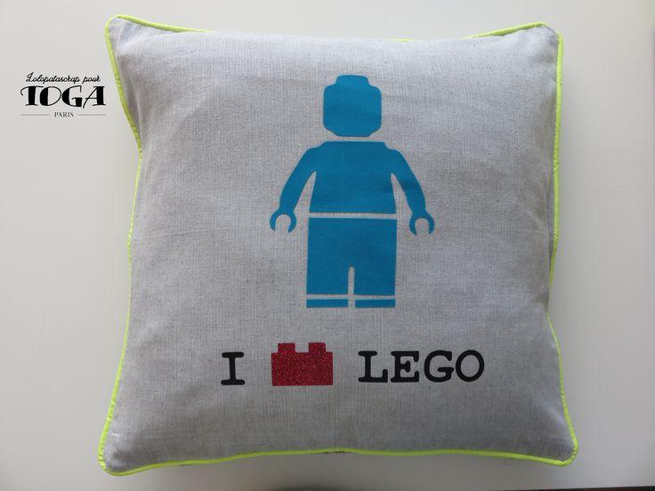 Oreiller Lego réalisé tout en produits mademoiselle Toga