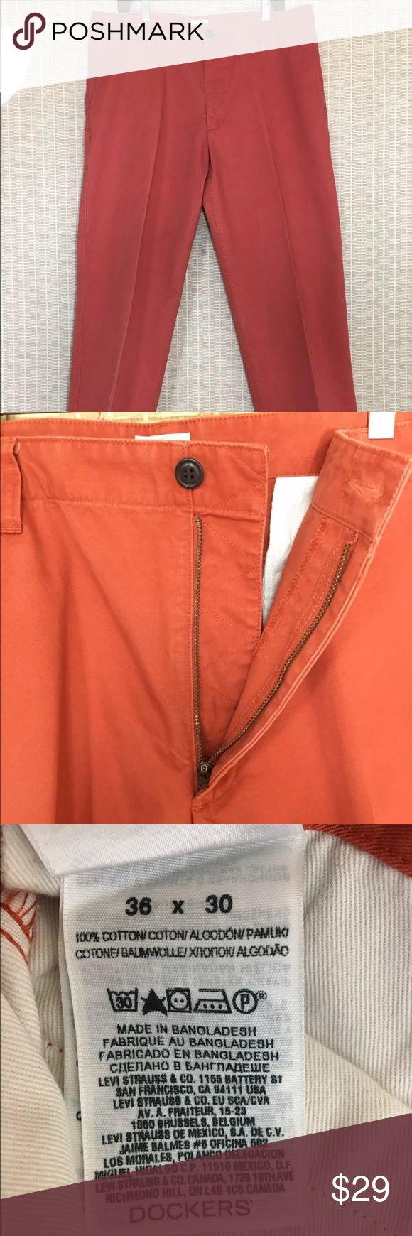 "Men's Docker Khaki slacks BRAND:     DOCKERS  CONDITION:     EUC  COLOR:    BURNT ORANGE   MATERIALS:    100% COTTON   SIZE:     36X30  FEATURES:   BELT LOOPS, FLAT FRONT, 5 POCKETS, BROWN FRONT BUTTON, ZIP UP   MEASUREMENTS:   WAIST (FLAT DOUBLE, NOT STRETCHED):     36""  INSEAM:   30""    MEASUREMENTS ARE ALL APPROXIMATE Dockers Pants Chinos & Khakis"