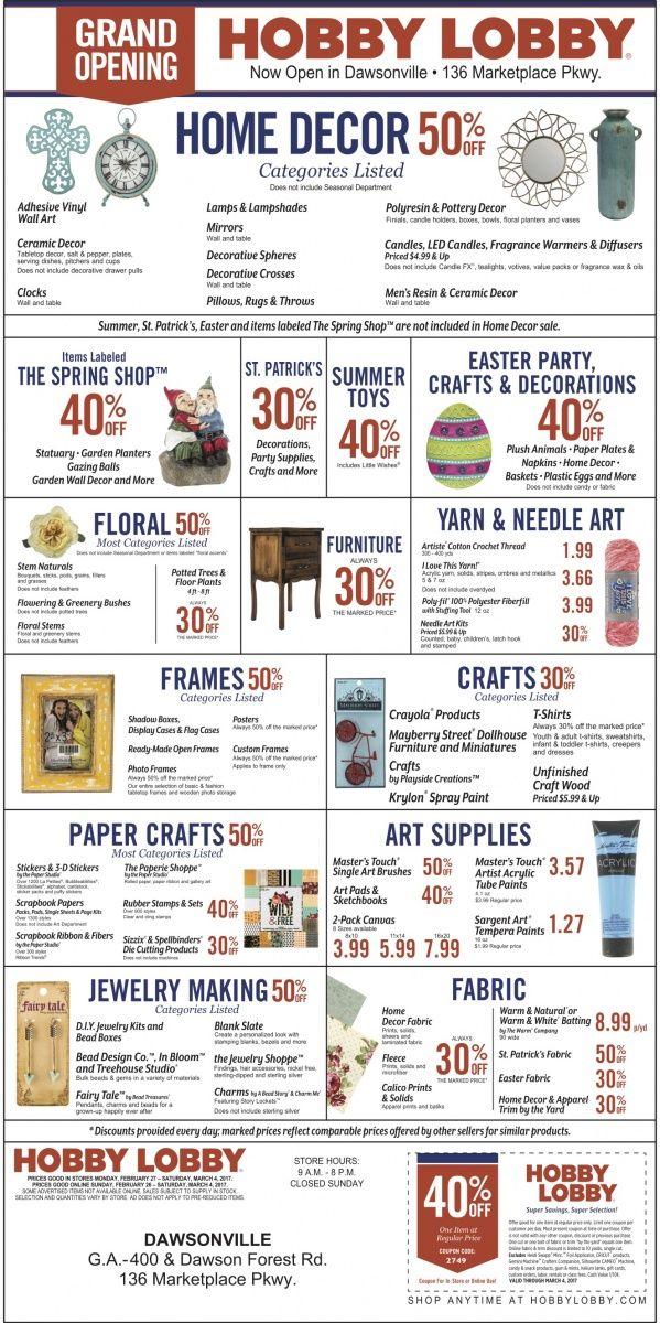 HOME DECOR 50% OFF  Categories Listed    Items Labeled   THE SPRING SHOP 40% OFF    ST. PA...   Hobby Lobby - Dawsonville, GA #georgia #DahlonegaGA #shoplocal #localGA
