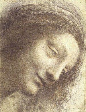 Flores y Palabras: Dibujos de Leonardo da Vinci Cabeza  de Virgen,estudio