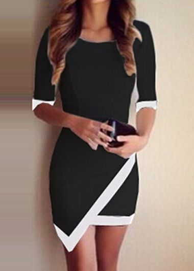 Pretty Half Sleeve Sheath Dress with Asymmetric Hem