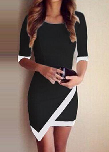 Pretty Half Sleeve Sheath Dress with Asymmetric Hem
