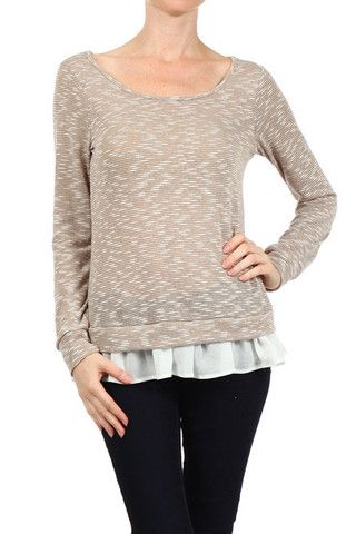 Wildflower | Boutique Ruffle Latte Sweater - perfect everyday sweater. So cute!