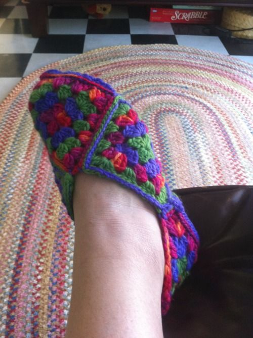 Julie, you better come teach me quick before there are more projects than time to do them...i want these too!  GRANNY SQUARE CROCHET SLIPPERS | Crochet For Beginners:
