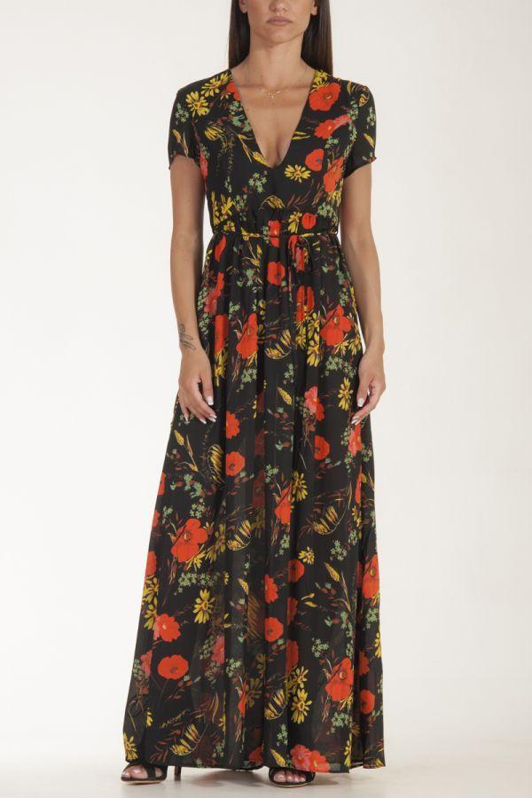 Φόρεμα μακρύ μαύρο με λουλούδια γυναικείο glamorous