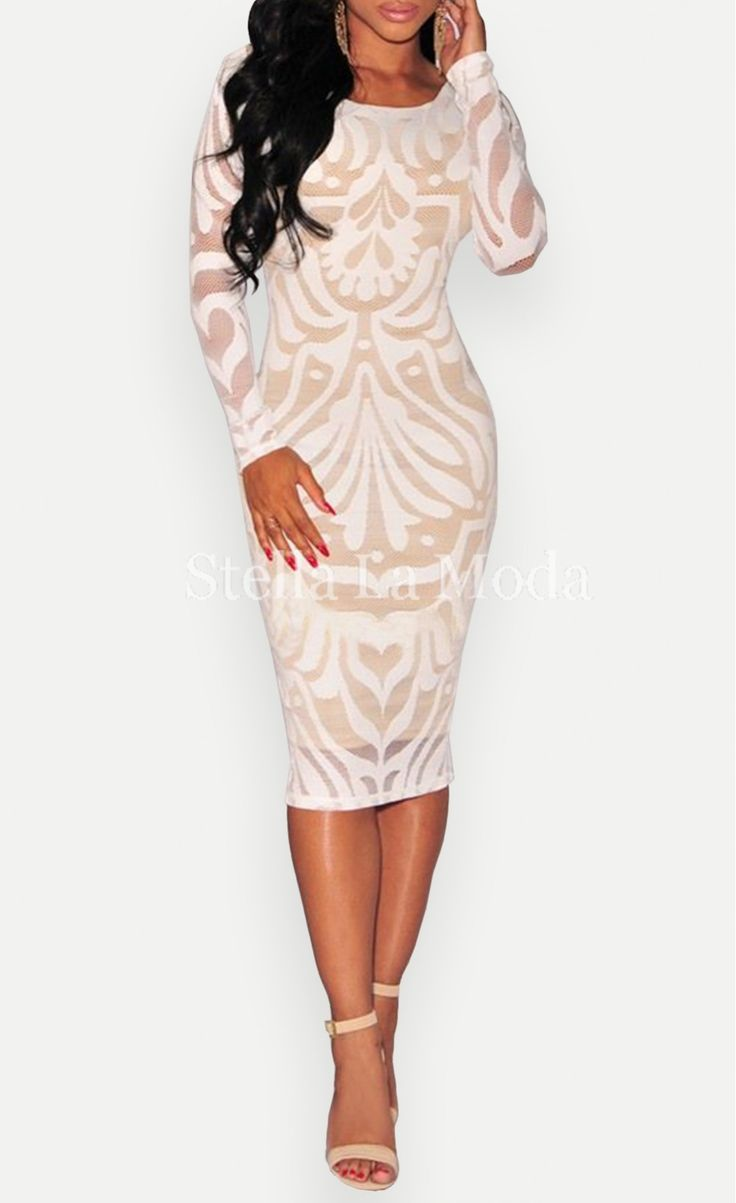 Victorian Net Nude Illusion Long Sleeves Dress