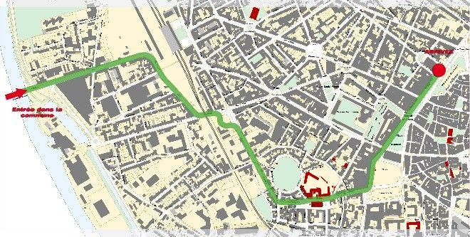 Cliquer pour visualiser le tracé du parcours du tour de France 2014 à Périgueux
