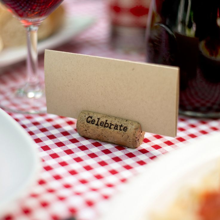 Add this faux-cork, resin place card or table card holder to your wedding party decorations. Great for..Vineyard, Rustic, Italian Wedding Themes, parties and more!