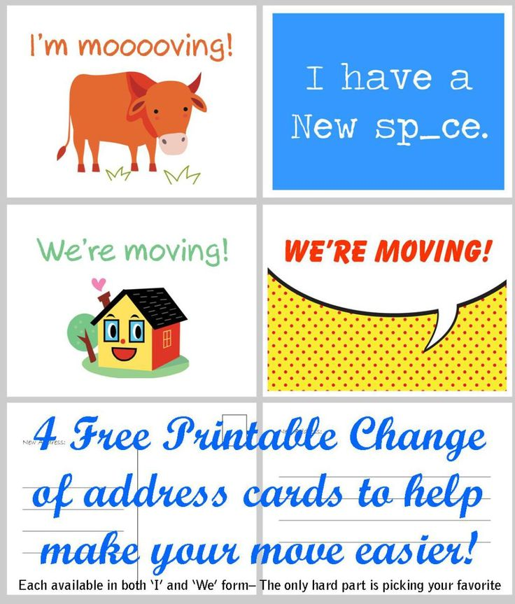 Choose one of these four Change of address cards print them out and check one more thing off your moving 'to-do' list! Simply pick your favorite then download and print on an 8-1/2 x 11…
