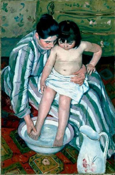 The Child's Bath by Mary Cassatt, painted in 1893, demonstrates Mary Cassatt's increased interest in Japanese art in her later career. Cassatt admired Utamaro, a late 18th-century ukiyo-e master who was renowned for his portrayal of the private lives of women going about their daily activities.