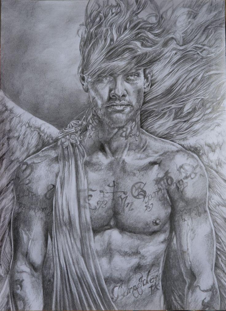 GuarDian #guardian #man with #runes #rune #theban #engelsschrift #tattoo #body #face #male #schattenjäger #angel #wings #pencilonpaper by #danaiden