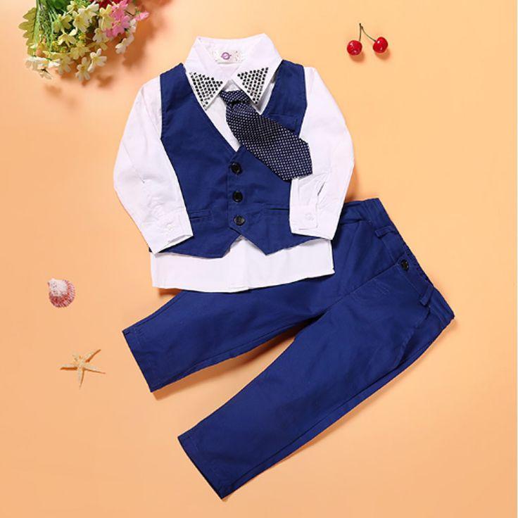2-7T New spring autumn gentleman style kids suit baby boy clothing set Vest+ Long-sleeves Shirt+ pant 3pcs Children's suits