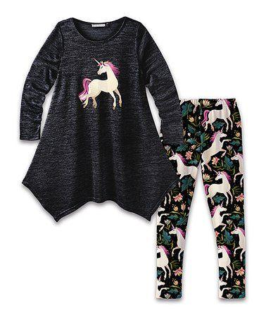 9badf0cd8d42b Look what I found on #zulily! Black Unicorn Handkerchief Dress & Leggings -  Toddler