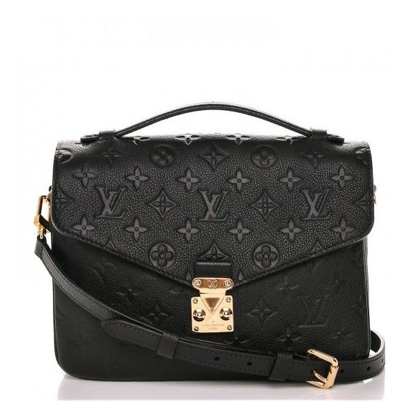 LOUIS VUITTON Empreinte Pochette Metis Noir Black ❤ liked on Polyvore featuring bags, handbags, shoulder bags, leather handbags, genuine leather handbags, striped handbags, shoulder handbags and leather shoulder handbags