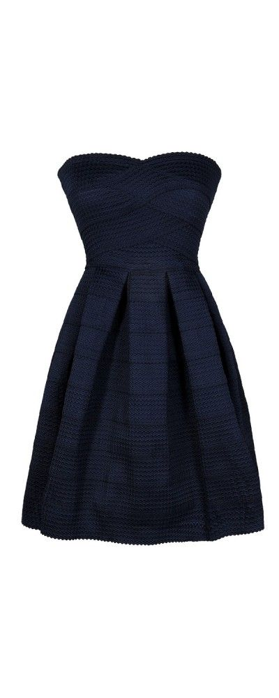 Belle of The Soiree Textured Strapless Dress in Navy  www.lilyboutique.com