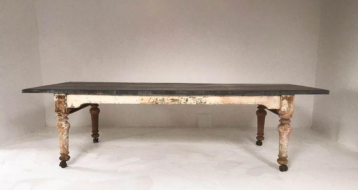 Rustikaler Viktorianischer Esstisch Mit Zinkplatte Dining Table 2019 Couchtisch Weiss Holz Esstisch Weiss Hochglanz Esstisch Holz