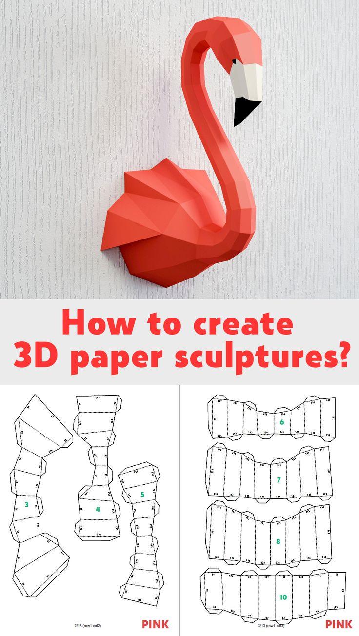 DIY paper craft template, 3D papercraft model sculpture flamingo, crafting ideas kit, origami, oxygami, low poly paper decor #papercraft #DIY #craft #paper