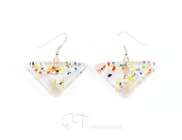 Triangle earrings for sensitive ears, Murano glass dangle earrings everyday, geometric earrings multicolor, silver earrings for gift - pinned by pin4etsy.com