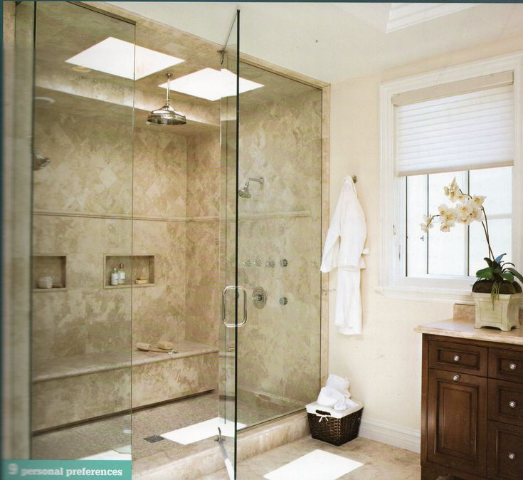 Bathroom Remodel Double Shower : Large shower double heads cubbies and lots of