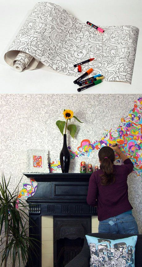 Ideal for parents which kids like to draw on the wall. Heck! I'd even enjoy myself coloring this wallpaper!