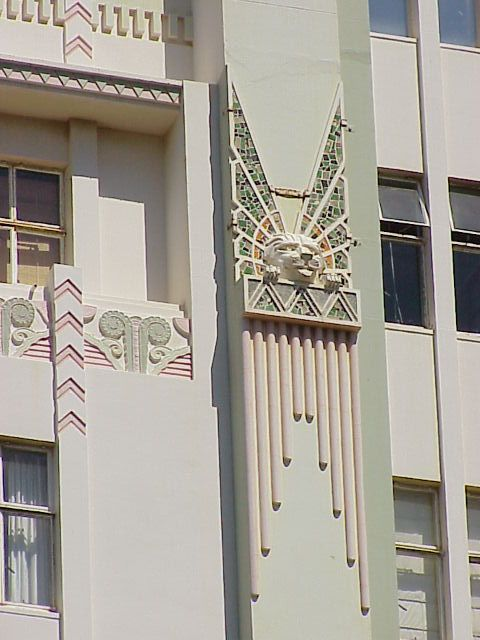 Exterior Art Deco detailing, Surrey Mansions, Durban, South Africa