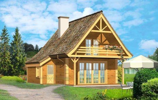 Projekt Chatka Drewniana to wymarzony dom na działkę rekreacyjną lub do całorocznego zamieszkiwania. Mimo niewielkiej powierzchni cechuje się funkcjonalnym wnętrzem i mieści w sobie wszystkie potrzebne pomieszczenia: na dole wygodny salon z kominkiem, kuchnią i łazienką, na poddaszu 2 lub 3 sypialnie. Pod dużym podcieniem wiszącym nad tarasem można schronić się przed deszczem lub słońcem, zaś z wygodnego balkonu podziwiać piękną okolicę.
