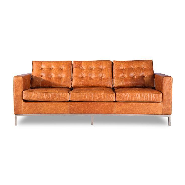 Leather Sofa Distressed Vintage Italian Distressed