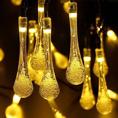 nice Luces de hadas al aire libre, 30 luces solares de la secuencia del LED Gota del agua, Jardín impermeable,Cerca, Navidad,árbol, Hogar,Fiesta, Decoración del Iluminación, 6.4M, 8 Modos (Blanco Cálido)