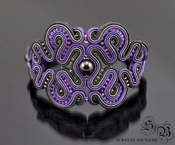 Soutache Bracelet,Soutache Jewelry,elegant,glamour,grey,violet,haematite