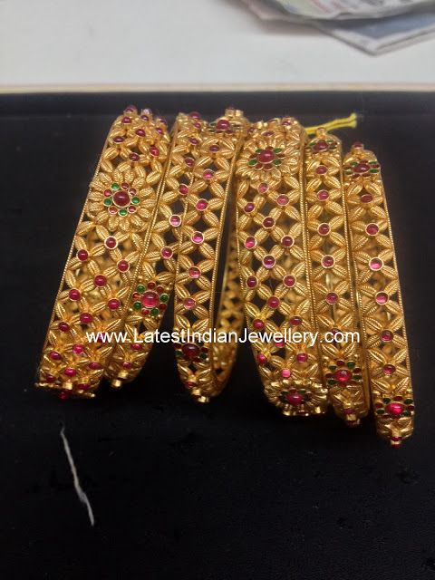 Latest gold ruby bangles