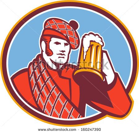 Illustration of a Scotsman Scottish beer drinker raising beer mug drinking looking up wearing tartan and beret hat set inside oval done in retro style. - stock vector #beerdrinker #retro #illustration