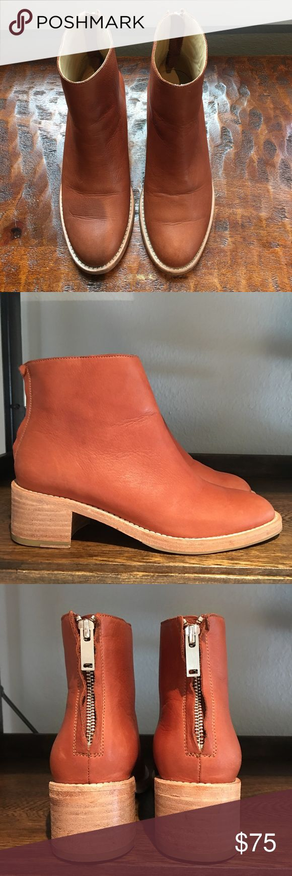 COS Booties Cognac back zip booties in excellent condition.  Stacked low heel COS Shoes Ankle Boots & Booties