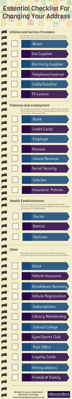 A visual checklist to help those moving house ensure they notify all the essential people to their change of address.