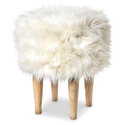Nate Berkus Faux Fur Stool For Between Fireplace And