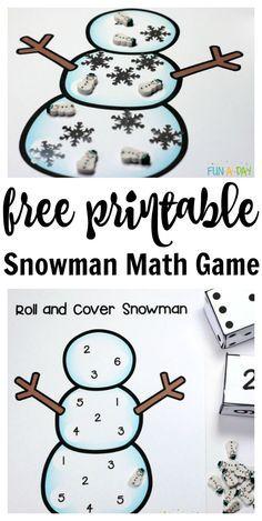 Free printable snowman number game for preschool and kindergarten