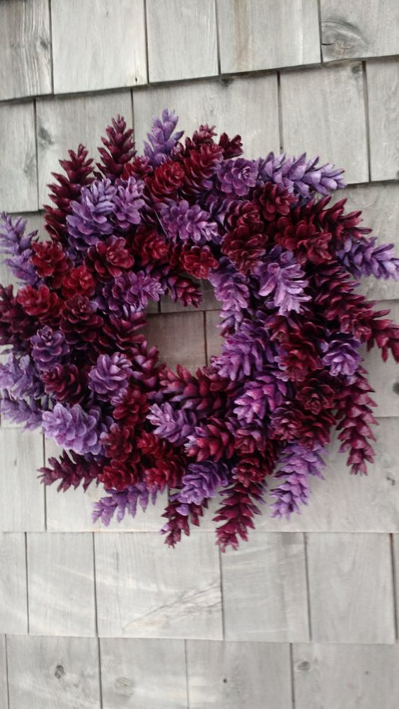 This wreath is just so sweet! With a fresh berry red and a beautiful lavender. My wreaths are so sturdy, each cone individually wrapped twice.